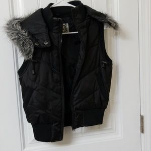 Hooded black vest